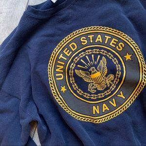 Vintage heavy oversized navy blue US Navy crewneck